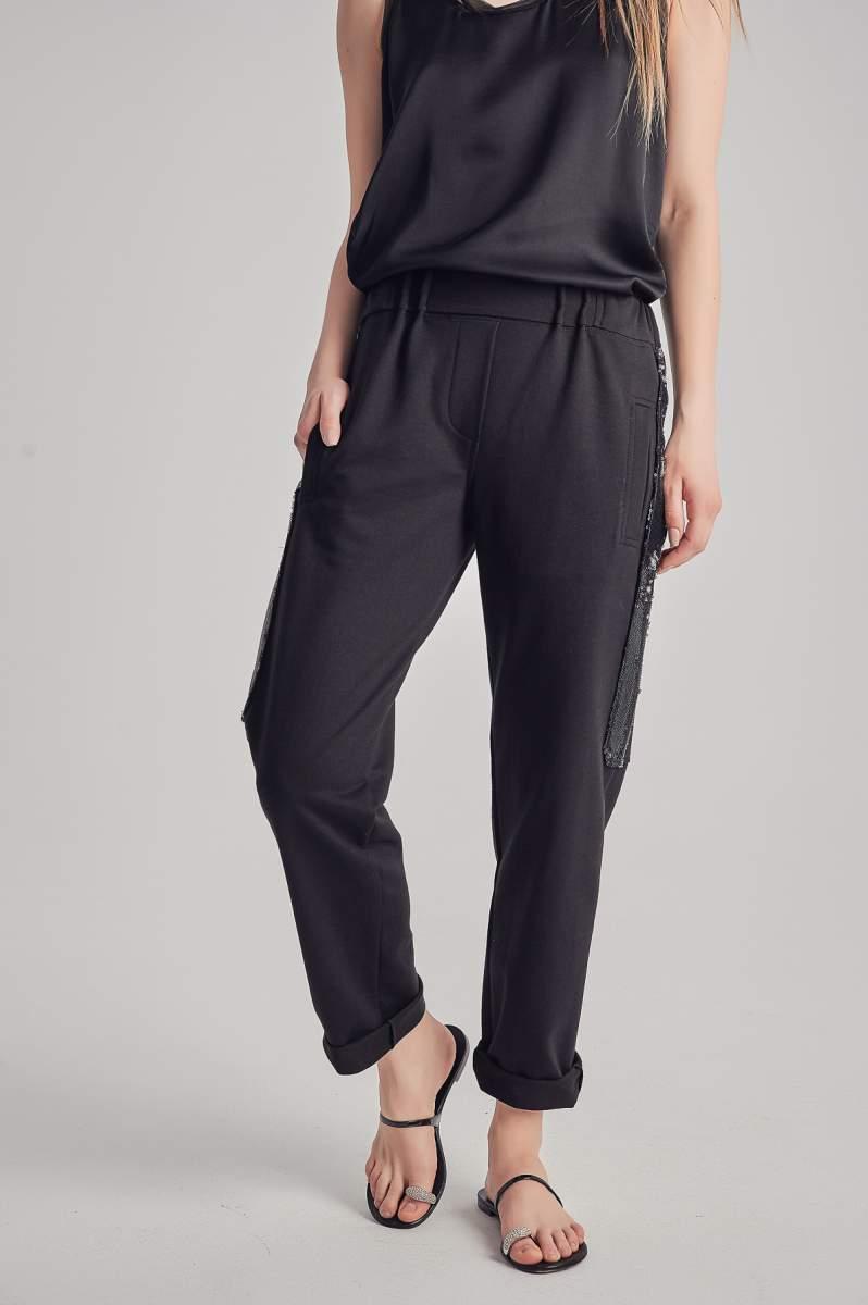 Pantaloni Shimmer Negri