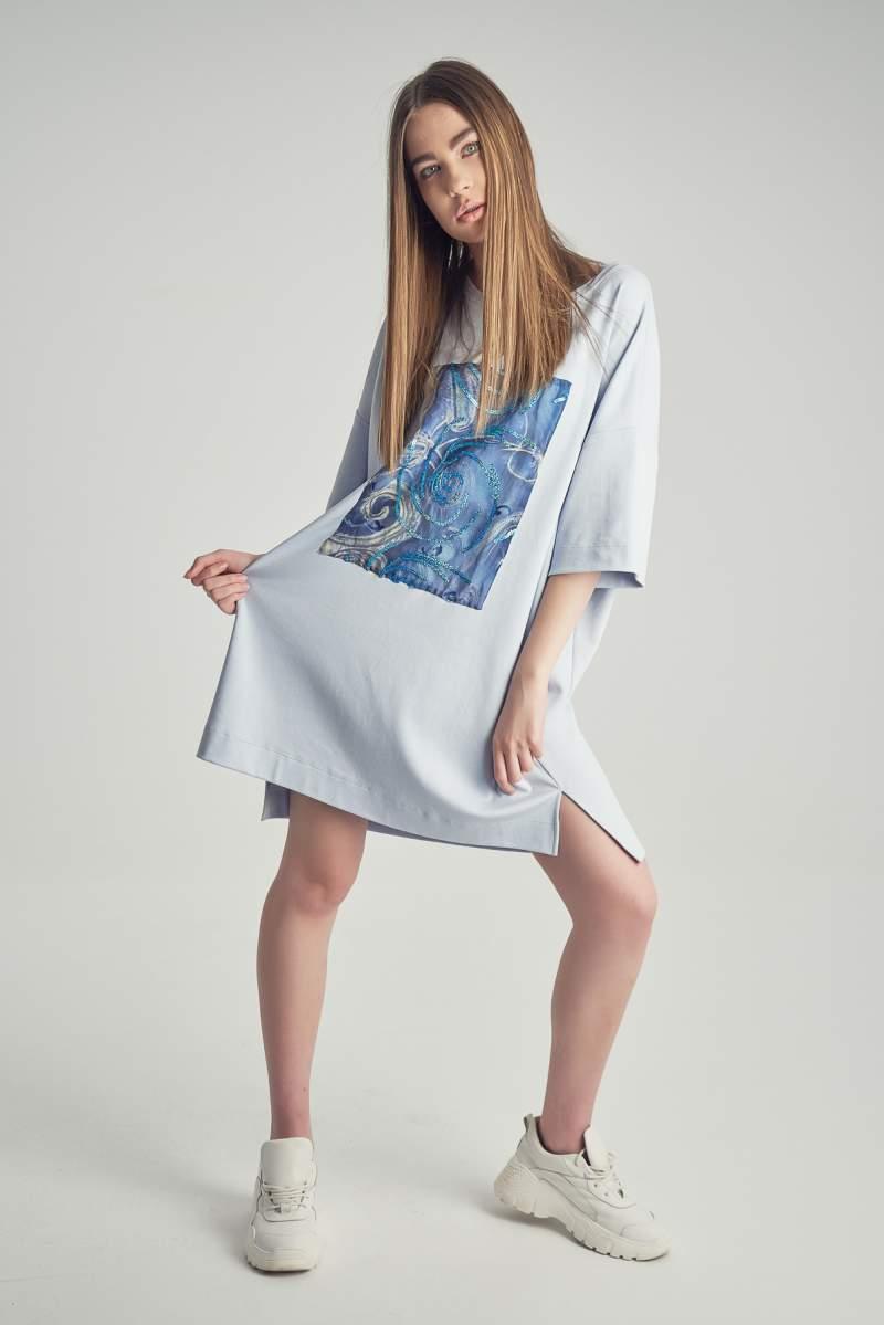 Rochie-tricou Blue Sienna