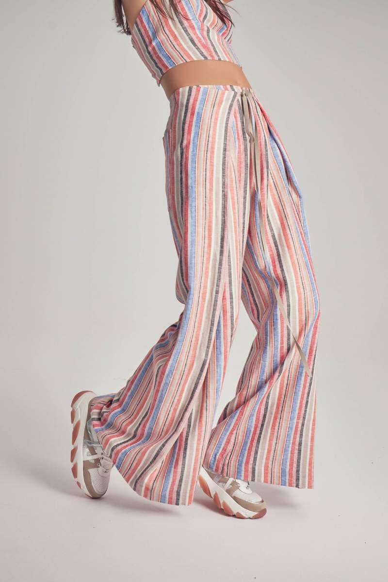 Pantaloni Pink Pinstripe